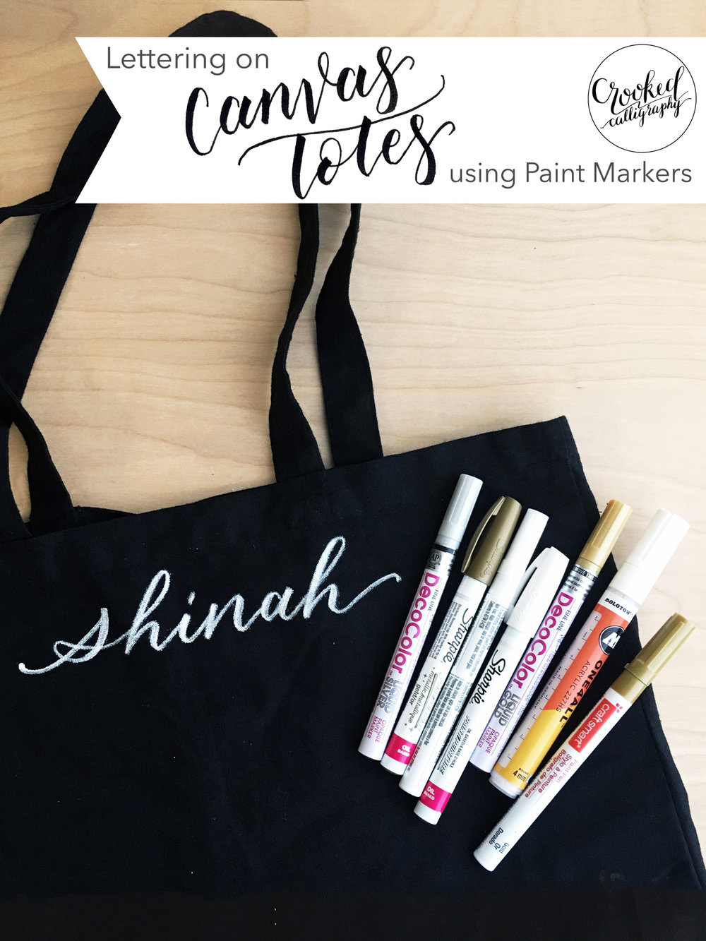 Calligraphy on Fabric using Paint Markers by Crooked Calligraphy