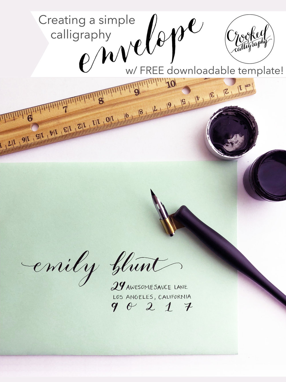 Simple Calligraphy Envelope for Beginners by Crooked Calligraphy