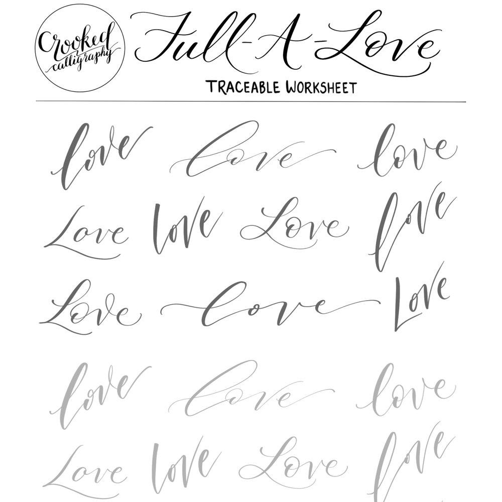 """LOVE"" TRACEABLE WORKSHEET"