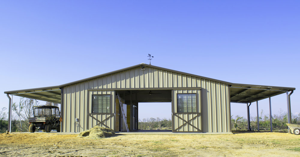 Straight Gable Horse Barn with Cupola