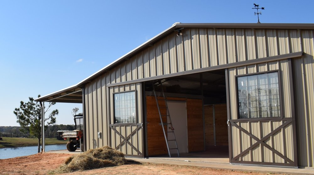 Sliding doors with crossbuck trim