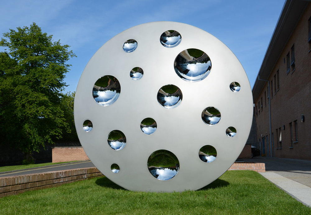 - SUN AND MOON 2015Stainless Steel - Bright mirror polished and shot blast2.5m / 8.2ft DiameterGartnavel Royal Hospital, Glasgow. View Commission >