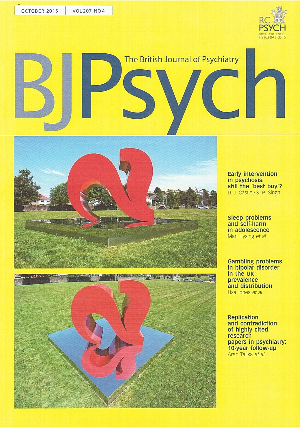 Two Hearts featured on the October 2015 Cover of The British Journal of Psychiatry