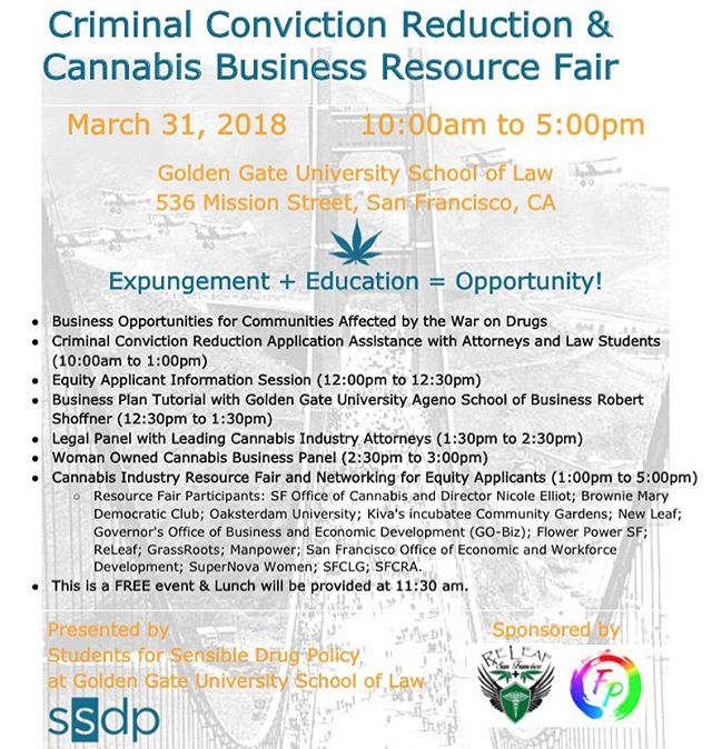 Come join @studentsforsensibledrugpolicy @ggulaw for a day of education and resources geared towards helping communities unfairly burdened by the War on Drugs enter the cannabis industry.  Link in Bio. #expungement #californiacannabis #cannabiscommunity #schoolsnotprisons #restorativejustice #powertothepeople