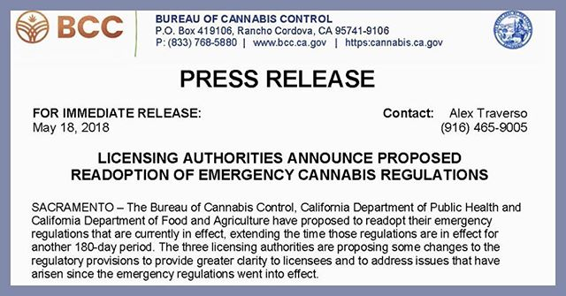 Read more at https://www.bcc.ca.gov/about_us/documents/media_20180518.pdf.  #CannaNews #CannAware