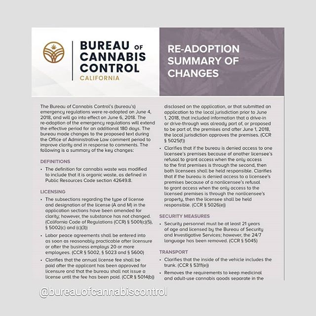 The Bureau of Cannabis Control released a fact sheet highlighting changes made to the re-adoption of the emergency regulations.  www.bcc.ca.gov/about_us/documents/readoption_summary.pdf #cannabisregulation #sfcannabis #bureauofcannabiscontrol #cannabislicensing