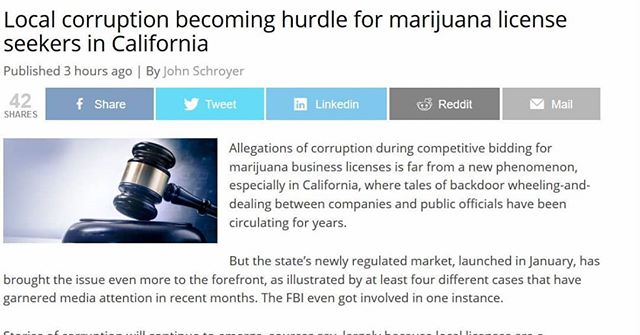"""In the legal market, they're going to continue to have corruption issues, because local folks are easier to bribe and corrupt than state bureaucrats"" - Matt Kumin, longtime cannabis industry attorney Read the full story at https://bit.ly/2KleGtB #cannabiscorruption #cannabispermits #cannabisregulation #mattkumin #alankumin #cannabislicense"