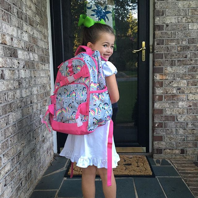 So proud of her new book bag and so excited for her first day of kindergarten!  Love this girl!
