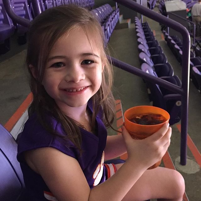 DaddyDaughter Basketball Date Night!  I'm predicting a lot of bathroom trips judging by the size of the small Coke, but it's all good...GO TIGERS!