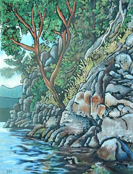 Sandy Hook Rocks with Arbutus