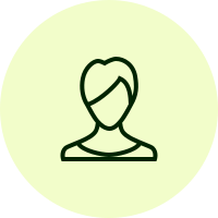 Lynne's anonymous avatar, an illustration of a woman in black lines on a yellow-green circle background