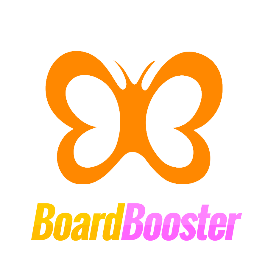 the boardbooster logo; an orange butterfly with the word 'Boardbooster' below in yellow and pink