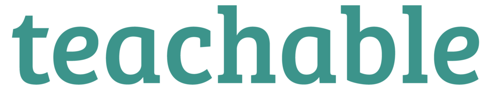 the teachable logo; the word 'teachable' in lower case in a greeny blue
