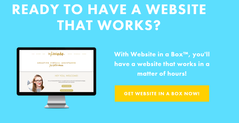 image: square your site, blue background, title: ready to have a website that works? yellow button to buy the course