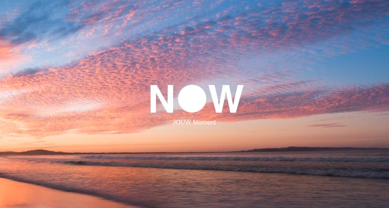NOW is gebaseerd op het principe dat zodra je mentaal vrij bent van toekomst en verleden, je gelukkiger leeft, in het heden, in dit moment, het hier en nu.