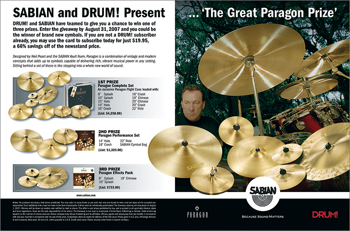 DRUM MAGAZINE - NEIL PEART PARAGON CONTEST ADVERTISEMENT (DPS)