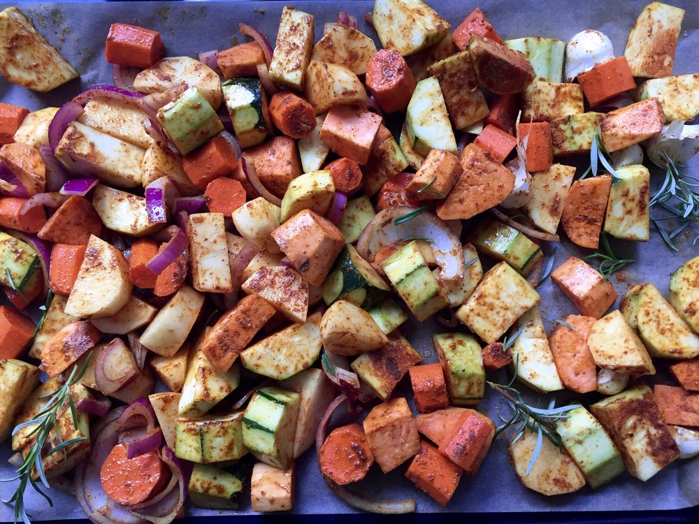 Roasted vegetables with Ayala's Magic Spice -- before baking