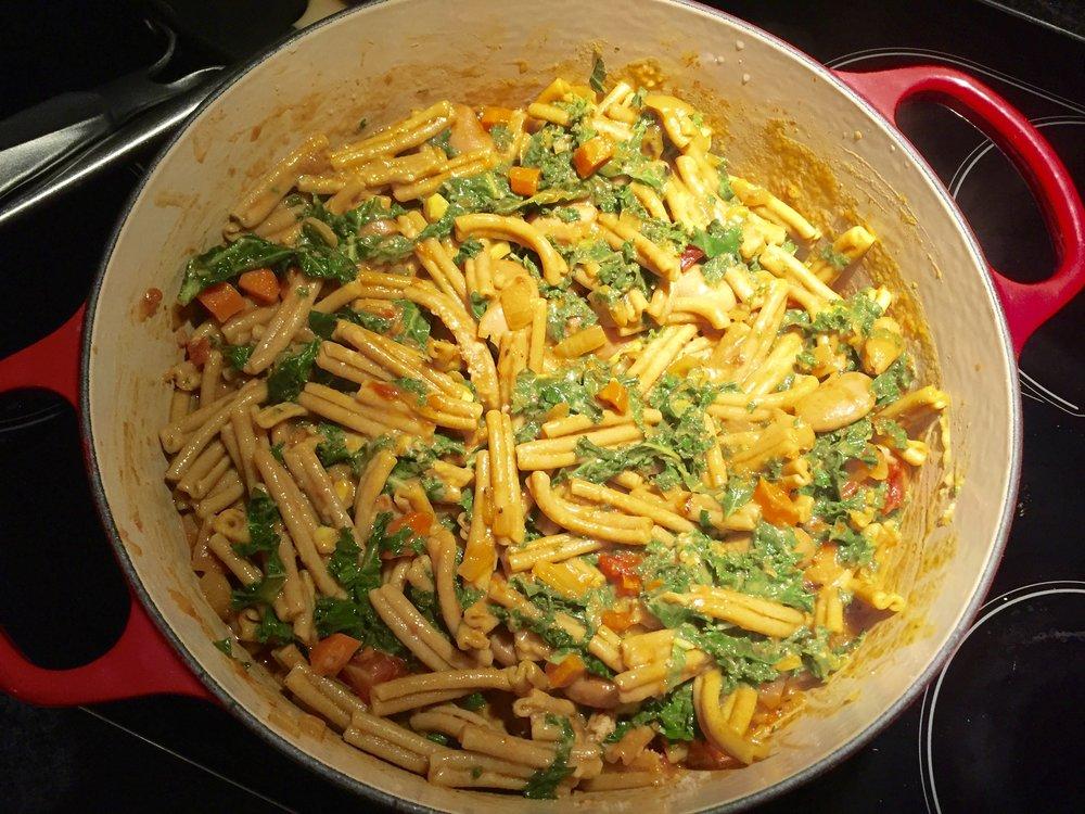 Let kale wilt in the warm pot