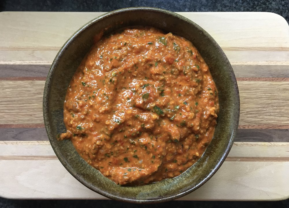 Easy, delicious romesco sauce with Dr. Ayala's Magic Spice for extra protein, antioxidants and B12