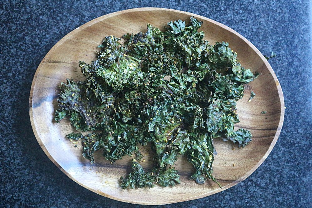 Delicious, snackable kale chips with Dr. Ayala's Magic Spice
