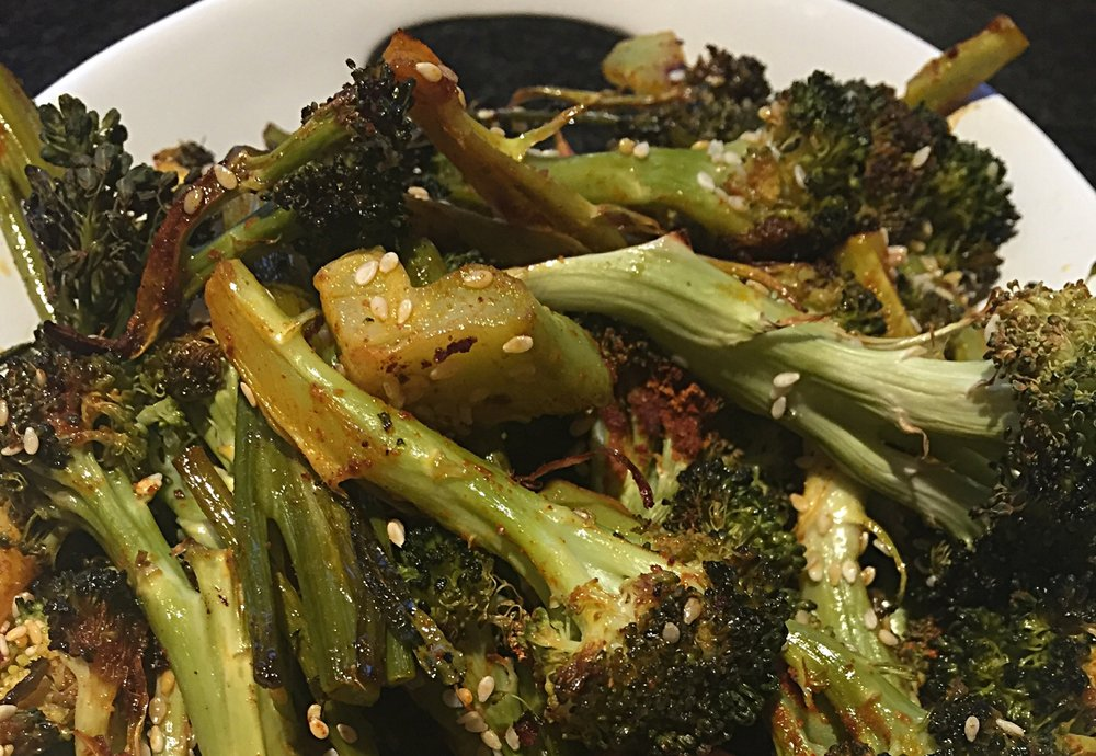 Roasted broccoli with Dr. Ayala's Magic Spice, delicious flavor boost, with nutritious benefits