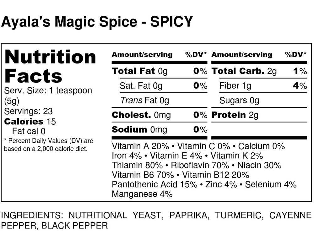 Contains high quality spices and an incredible, super healthy ingredient — nutritional yeast