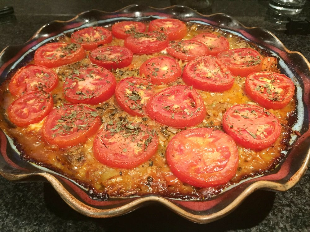 Baked Orzo with Eggplant, Celery, Carrots and Cheese
