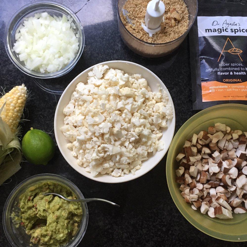 chopped cauliflower, shitake mushrooms, onions and walnuts, Dr. Ayala's magic Spice, guacamole