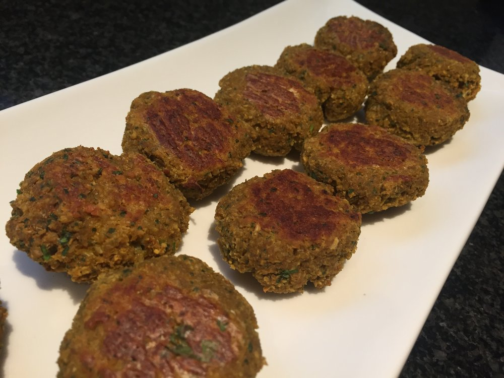 Baked falafel, vegan and gluten free, and with an added nutritional kick