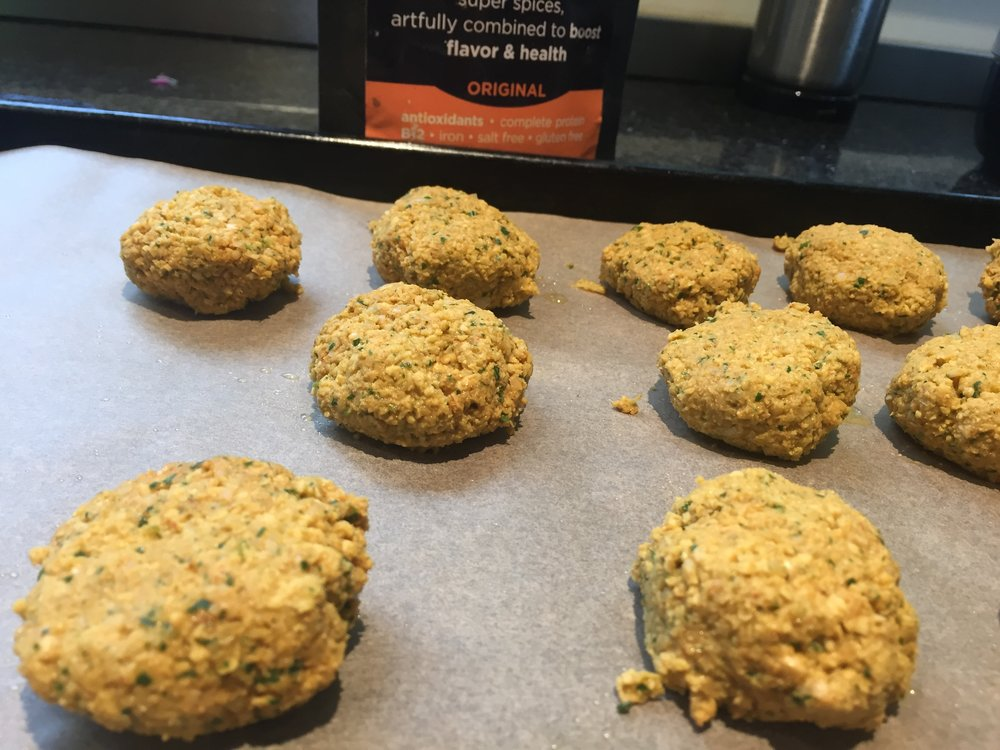 Falafel balls, ready for the oven