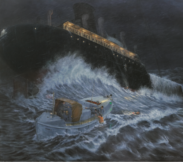 SAVED FROM AN ANGRY SEA—The 36-foot Coast Guard Motor Lifeboat used in the M/V Pendleton rescue, and portrayed here in the Tony Falcone mural, was itself rescued by the Orleans Historical Society in 1981 and is berthed in summer at Rock Harbor as a floating museum and fitting tribute to extraordinary courage.