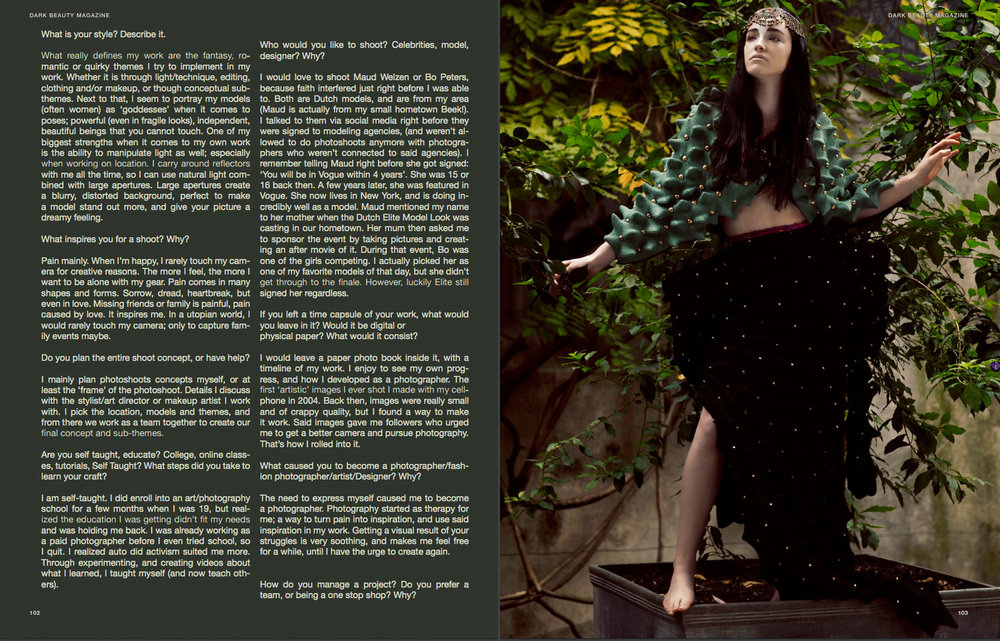 Editorial and Interview in Dark Beauty Magazine.