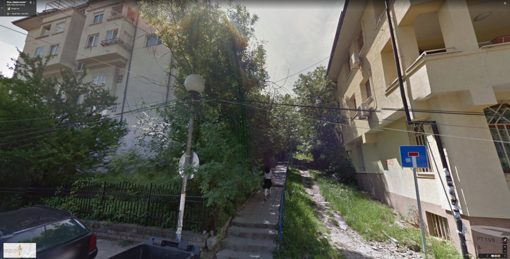 Image from Google Maps of the area and one of the long staircase paths we were walking through.