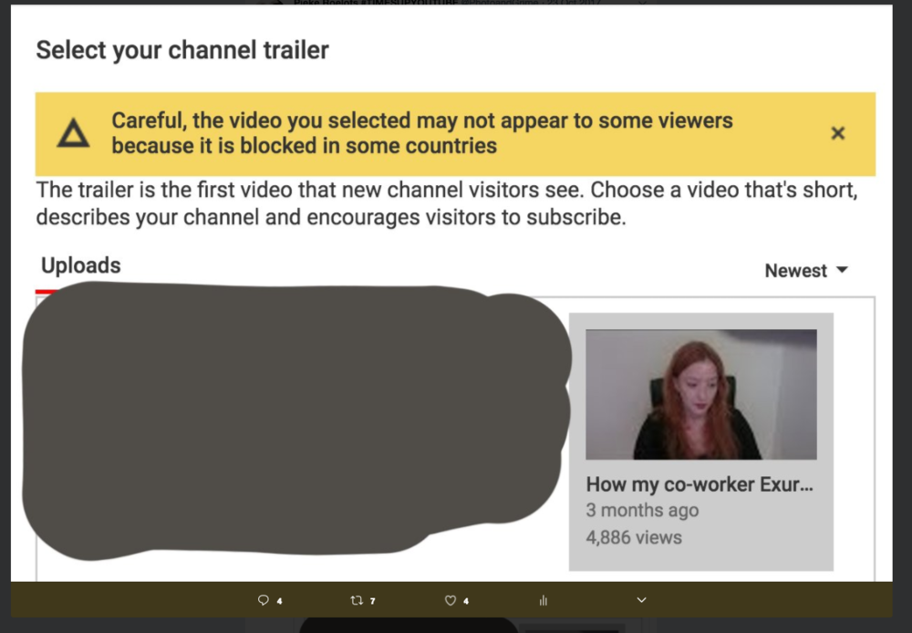 Youtube has blocked my video in some countries. A video where I talk about rape, abuse, blackmail and threats, after collaborating with another youtuber.  Update* Since February 2018, Youtube has unblocked my rape story. This happened after Amanda Palmer retweeted this Call For Action blog. Youtube reached out to me the next day, and are currently investigating youtuber Exurb1a.