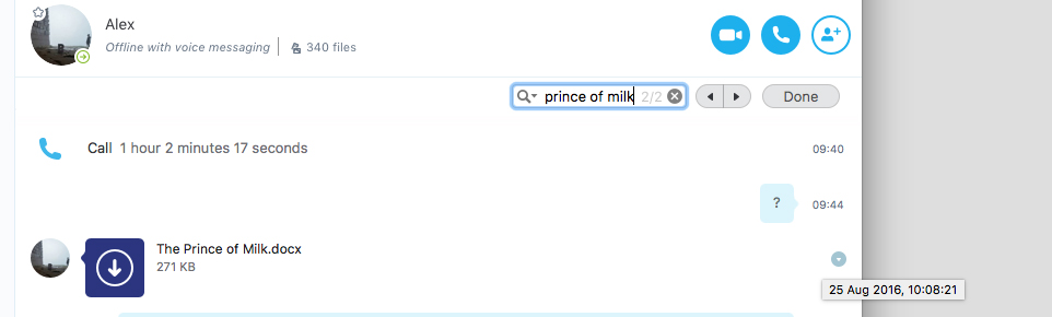 Alex aka Exurb1a, sending the manuscript of The Prince of Milk on Skype, on August 25, 2016.