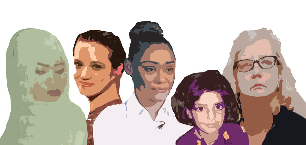 From left to right: Noura Hussein, Asia Argento, Kendra Scott, Asifa Bano and Barbara Coombes. Five victims of abuse.