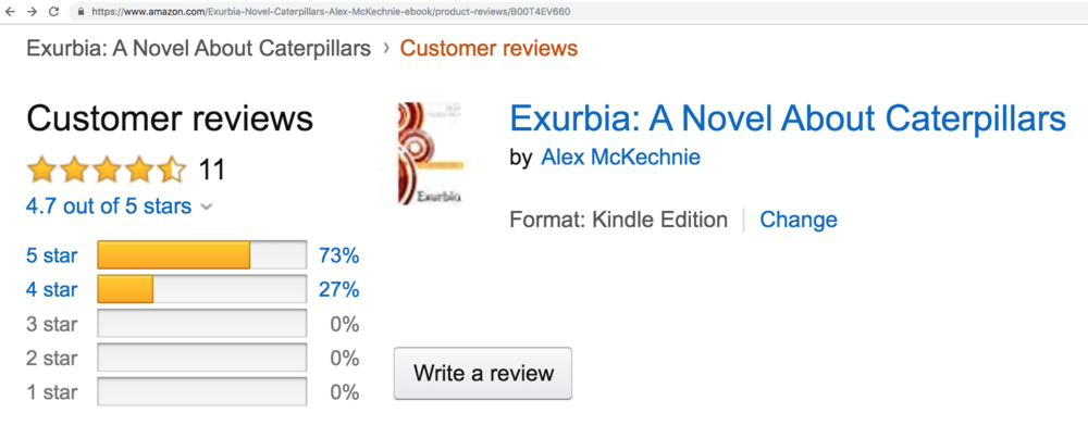 Exurb1a is the stage name of author Alexander McKechnie, who previously published the book 'Exurbia: A Novel About Caterpillars'. Exurb1a's youtube name was  Exurbia , before he changed the  i  into an  1.  Exurb1a changed his name to get around a video-ban on the subreddit /r/videos on Reddit, due to  vote-manipulation .