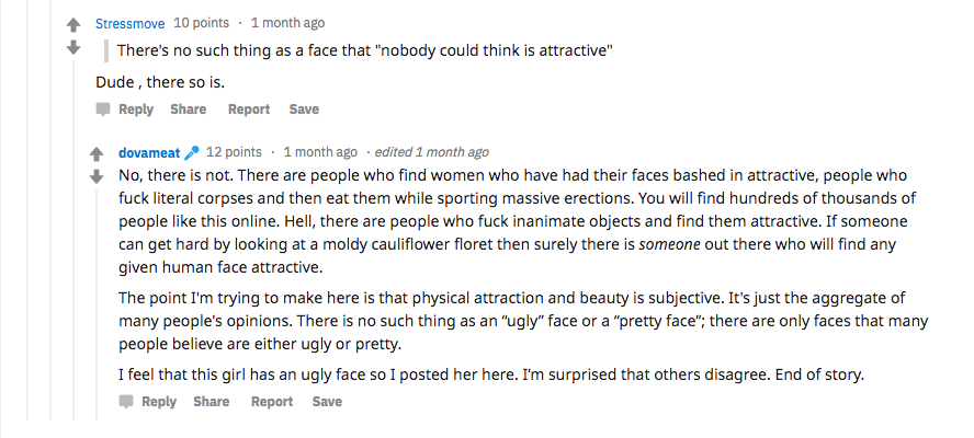 A user on the Butterface subreddit discusses the term  butterface .