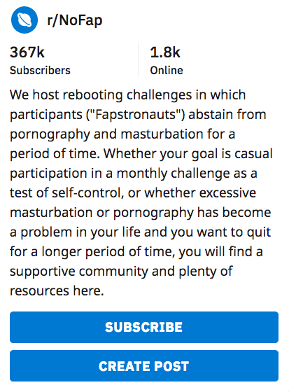 NoFap is a community about self-control.
