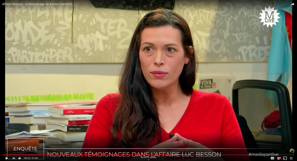"Karine Isambert speaking out about Luc Besson in "" Affaire Besson : le témoignage de Karine Isambert ""."