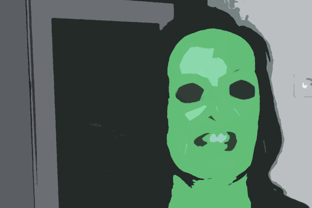 Simon's mother. She's not really green, but you know, I had to make sure she is unidentifiable.