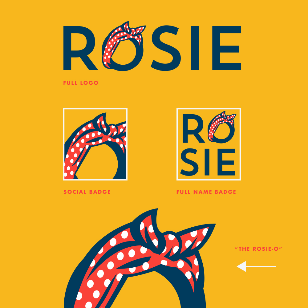 Branded FOR LEADERSHIP. - ROSIE supports, assists and serves as an advocate network for current and prospective female founders, business owners, and leaders. They wanted a brand that reflected the courage it takes to step into a leadership role and also display a sense of female pride. Of course Rosie The Riveter made the perfect example. Using the