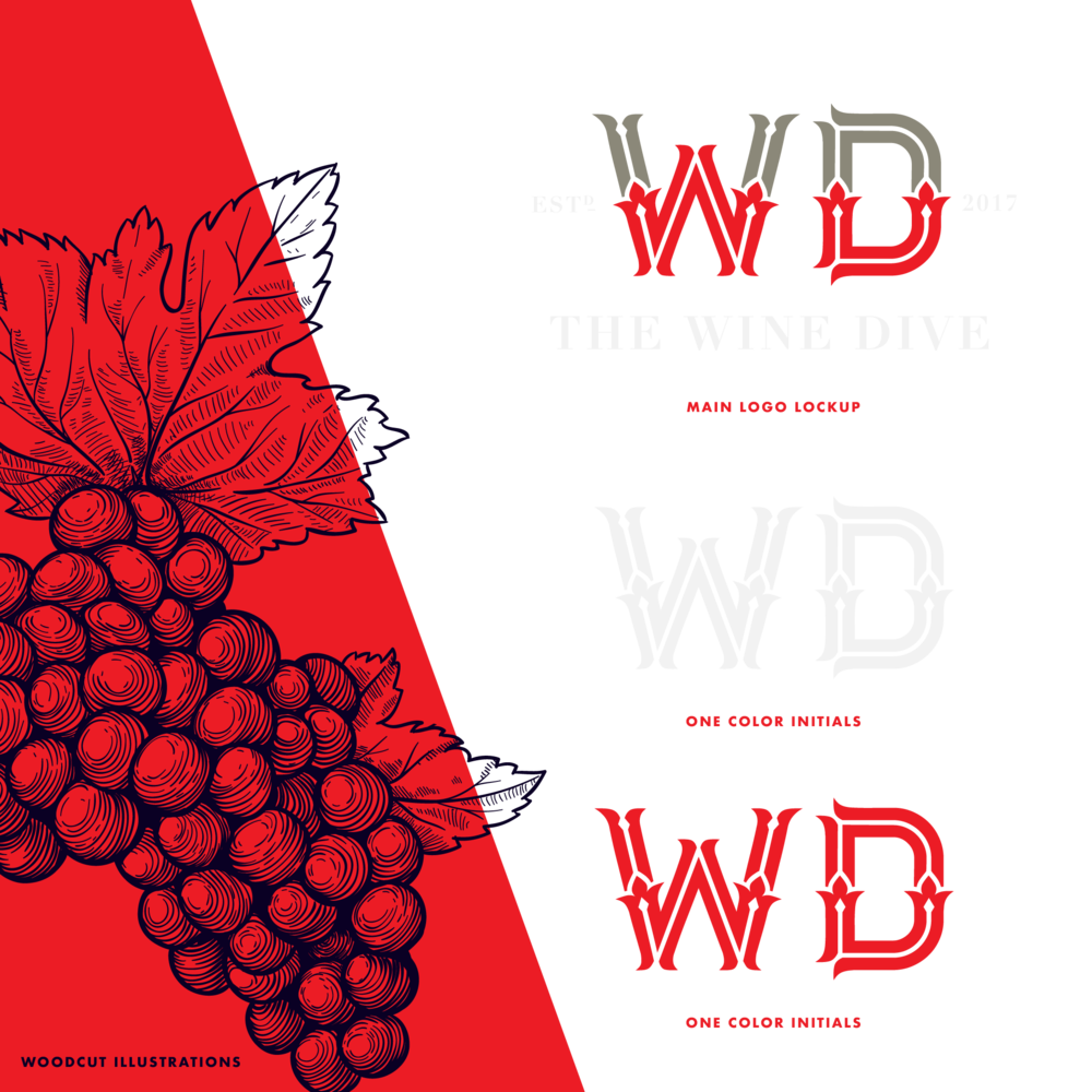 A CLASSY DIVE - The Wine Dive reached out early on to help craft their brand. At the time, they had only the name, the space, and some lofty ideas about a