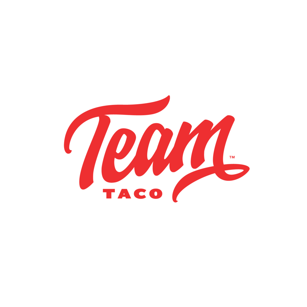TEAM MATES FOR LIFE - There's no I in Team y'all. The folks from Team Taco get it. As a group, they are fun-loving, hard-working culinary geniuses. Individually, they are just real good people. For their logo, we wanted to pay a slight tribute to vintage sports teams script logos, but with a modern feel to it.