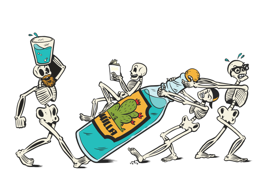 THE SKELETON CREW. - Team Taco consists of 4 crew members. A pretty small collection for a pop-up restaurant if you ask us. They run it thin, but you would never know it. We created The Skeleton Crew to pay homage to the 4 founders. Always down for a party, these 4 are working hard to have a good time.