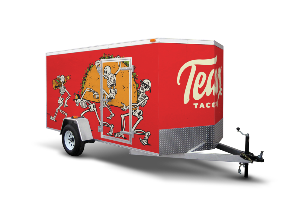 THE TRAILER OF DOOM. - The Team wanted to travel in style. We wrapped their pop-up trailer with The Skeleton Crew graphics so you know the party has arrived when they pull up.