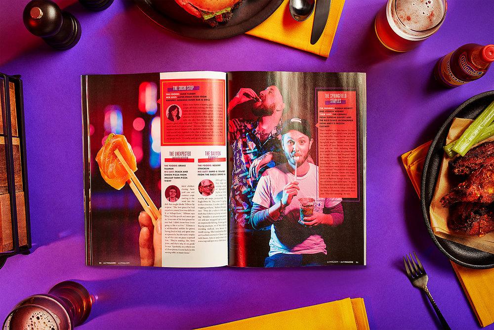 """WHAT FOODIES EAT - The best part of working with 417 Mag was their ability to sign off on getting weird and letting us do what we do best - make stunning work. For the """"What Foodies Eat"""" issue, we focused on the late night nature of the hospitality industry, a hotbed for foodie culture. Using neon light and personality driven photography, we created a story within a story to highlight the 417-land creative foodie culture."""