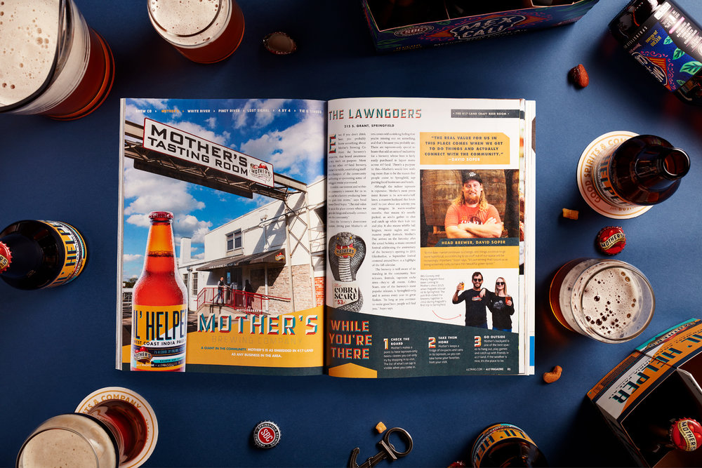 OUR CRAFT BEER BOOM - In late 2018, 417 Magazine reached out to us to step in for a month for some freelance Art Direction for their Craft Beer Boom issue. Little did we - or they for that matter - know it would blossom into such an awesome relationship. Starting with the November Craft Beer Boom issue, the FDCx417 Collaboration ended up spanning 6 consecutive issues, culminating in 4 American Advertising Federation Awards.