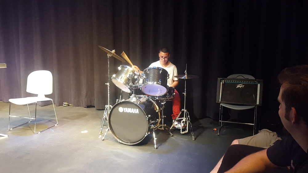 Freshman Luis Delgado on drums