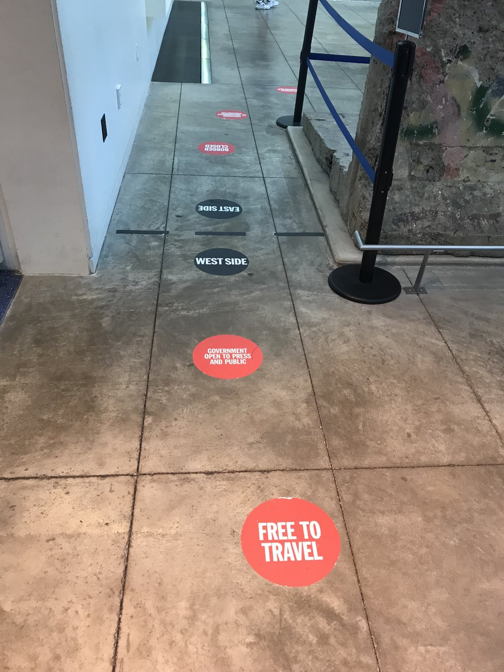 The Newseum: floor decals at the East/West Berlin Wall exhibit.